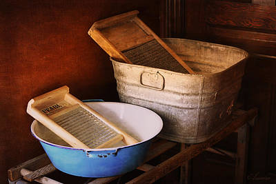 Antique Wash Tubs Print by Maria Angelica Maira