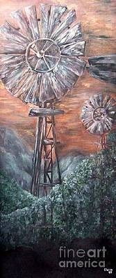 Silver Moonlight Painting - Antique Windmills At Dusk by Eloise Schneider