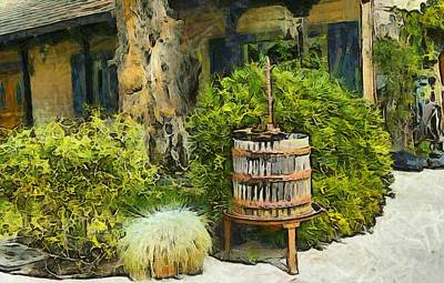 Antique Wine Press 3 Print by Barbara Snyder