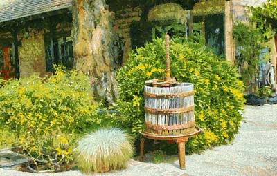 Winery Digital Art - Antique Wine Press 4 by barbara Snyder