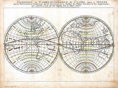Antique World Map Harmonie Ou Correspondance Du Globe 1659 Print by Karon Melillo DeVega
