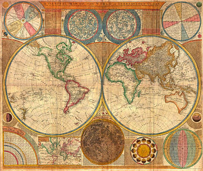 Guides Drawing - Antique World Map In Hemispheres 1794 by Mountain Dreams