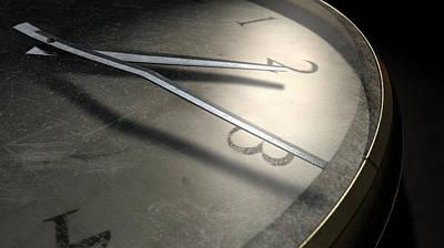 Pocket Digital Art - Antique Worn Pocket Watch Dark by Allan Swart