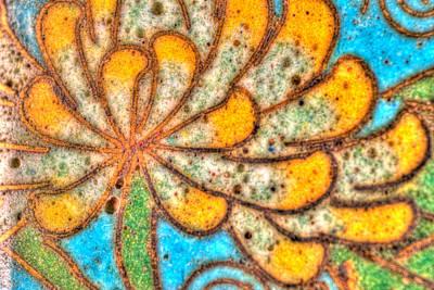 Ceramic Mixed Media - Antique Yellow Flower by Omaste Witkowski