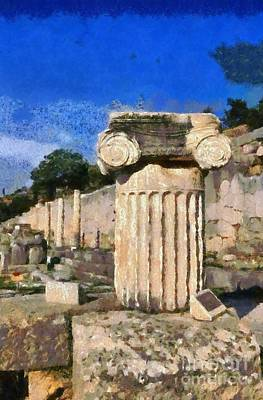 Pillars Painting - Antiquities In Delphi by George Atsametakis