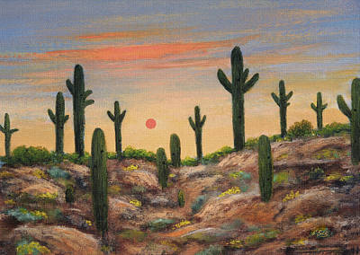 Saguaro Cactus Painting - Apache Hills by Gordon Beck