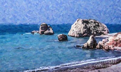 Rock Digital Art - Aphrodites Rock Cyprus by Liz Leyden