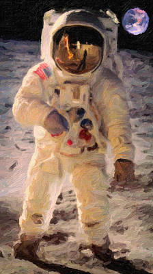 Apollo 11 Astronaut Painting Print by Celestial Images