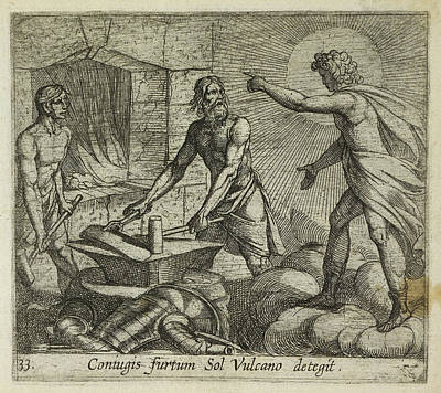 Apollo At Vulcan's Forge Print by British Library