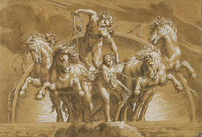 Lelio Orsi Drawing - Apollo Driving The Chatiot Of The Sun by Lelio Orsi