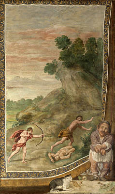 Cyclops Painting - Apollo Killing The Cyclops by Domenichino and Assistants