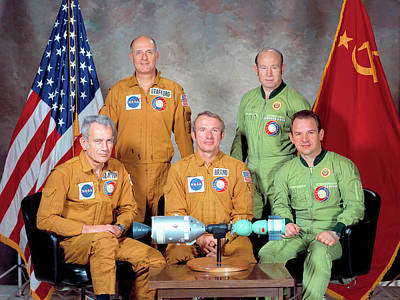 Astronauts Photograph - Apollo Soyuz Test Project Crew by Nasa