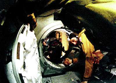 Astronauts Photograph - Apollo Soyuz Test Project Docking by Nasa