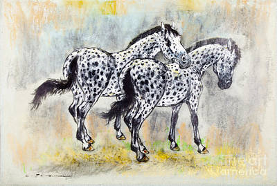 Appaloosa Horses Print by Kurt Tessmann