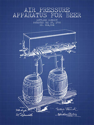 Apparatus For Beer Patent From 1900 - Blueprint Print by Aged Pixel