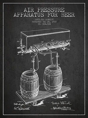 Technical Drawing - Apparatus For Beer Patent From 1900 - Dark by Aged Pixel