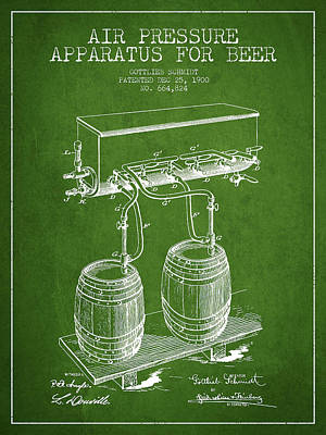 Tap Digital Art - Apparatus For Beer Patent From 1900 - Green by Aged Pixel