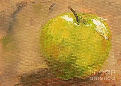 Still Life With Green Apples Painting - Apple A Day by Marietjie Du Toit