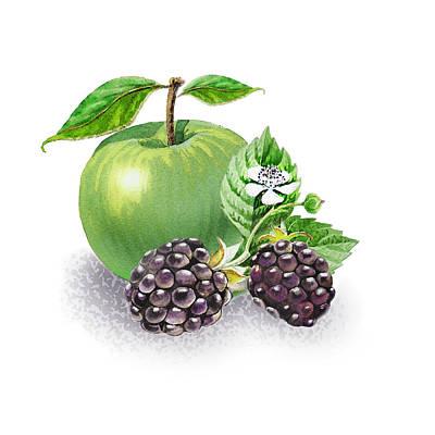 From Nature Painting - Apple And Blackberries by Irina Sztukowski