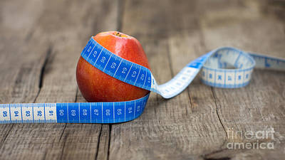 Tape Photograph - Apple And Measuring Tape by Aged Pixel
