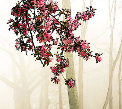 Apple Blossoms In Fog Print by Brooke T Ryan