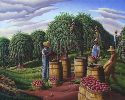 Apple Harvest - Autumn Farmers Orchard Farm Landscape - Folk Art Americana Original by Walt Curlee