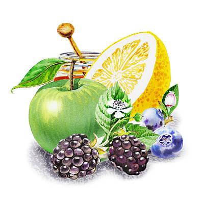 Blueberry Painting - Apple Orange And Berries by Irina Sztukowski
