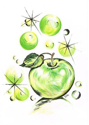 Apple With Soapy Bubbles Print by Teresa White