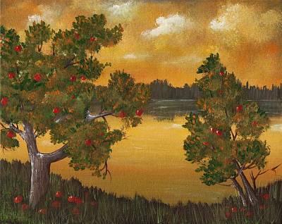 Surreal Painting - Apple Sunset by Anastasiya Malakhova