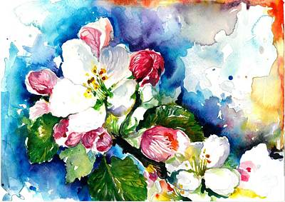 Apple Tree Blossom - Flowers Made In Watercolor Technique On Heavy Paper Print by Tiberiu Soos