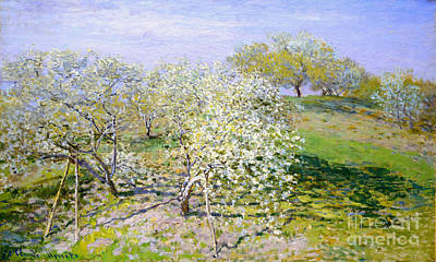 Apple Trees In Bloom 1873 Print by Claude Monet