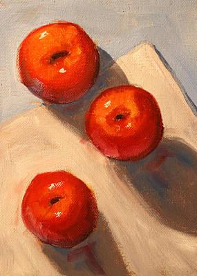 American Food Painting - Apple Trio Still Life by Nancy Merkle