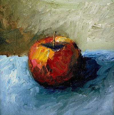 Closeup Print featuring the painting Apple With Olive And Grey by Michelle Calkins