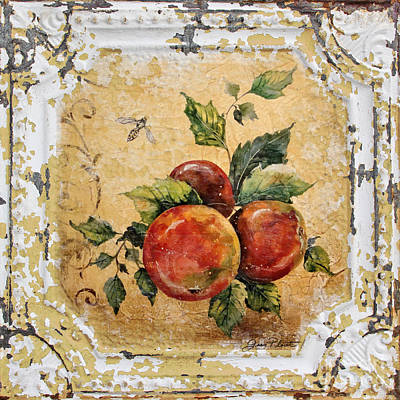 Apples And Bee On Vintage Tin Print by Jean Plout