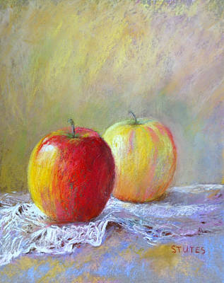 Impressionism Drawing - Apples On A Table by Nancy Stutes