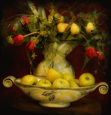 Pottery Digital Art - Apples Pears And Tulips by Jeff Burgess