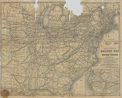 Appleton Drawing - Appleton's Railway Map Of The United States And The Canadas by Cody Cookston