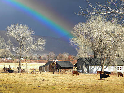 Approaching Storm At Cattle Ranch Print by Frank Wilson