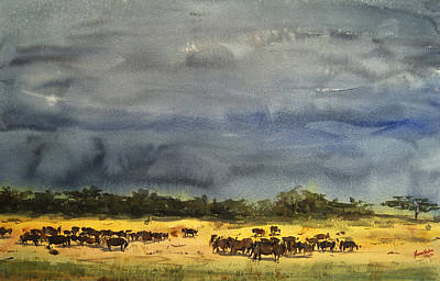 Relating Painting - Approaching Storms In Tarangire Tanzania by James Nyika