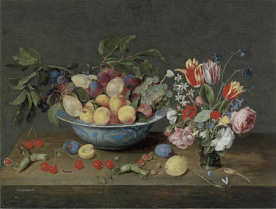Apricots Plums And Grapes In A Bowl Print by Jacob Van Hulsdonck