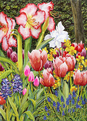 Spring Bulbs Painting - April by Karen Wright