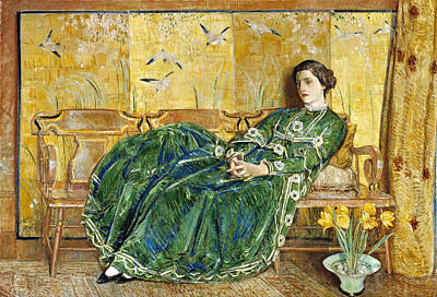 Childe Hassam Painting - April. The Green Gown by Childe Hassam