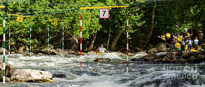 Canoe Photograph - Aproaching The Slalom Gate by Les Palenik