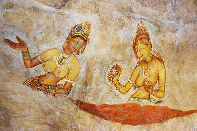 Apsaras. Scene From Cave Painting In Sigiriya Print by Jenny Rainbow