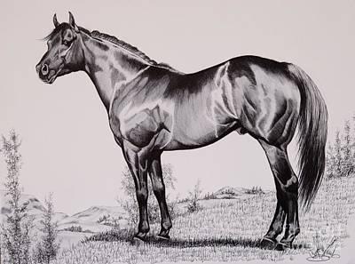 Aqha Stallion Driftwood Print by Cheryl Poland