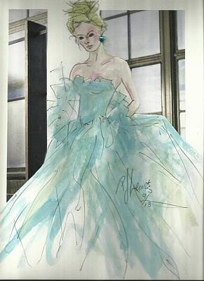 Evening Gown Mixed Media - Aqua Chifon  by P J Lewis