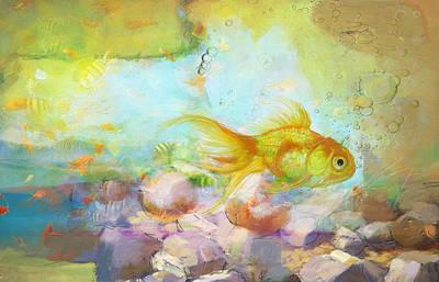 Parakeet Painting - Aqua Goldilocks by Catf