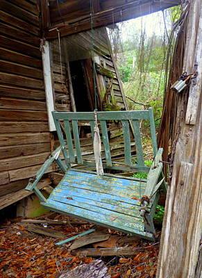 Abandoned Photograph - Aqua Porch Swing by Carla Parris
