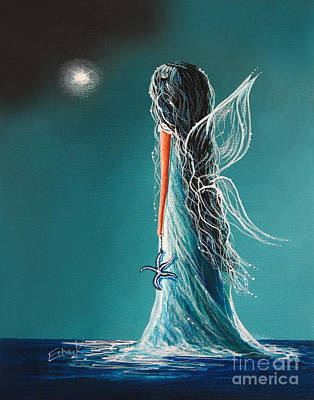 Fantasy Fairy Art Painting - Aquamarine Fairy By Shawna Erback by Shawna Erback