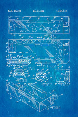 Odd Portrait Photograph - Aquarium Bath Patent Art 1982 Blueprint by Ian Monk